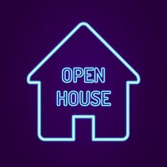Open huis bord met neon