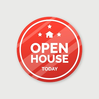 Open huis label concept
