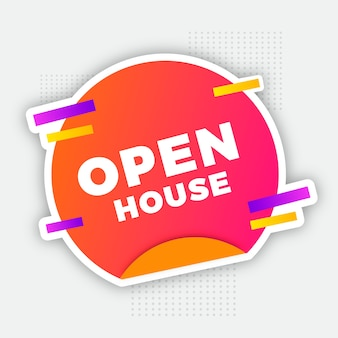Open huis label illustratie