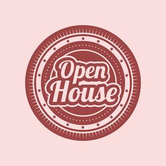 Open huis label wiel ontwerp