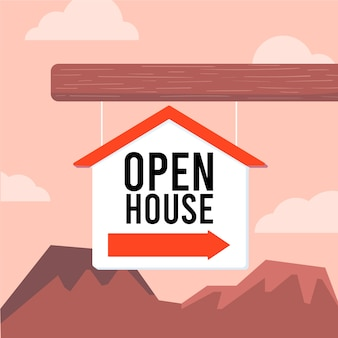 Open huis teken concept