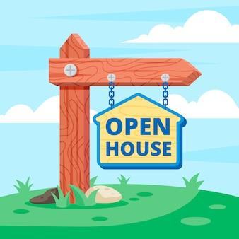 Open huis teken realistisch ontwerp