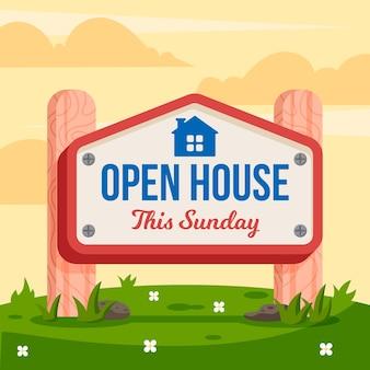 Open huis teken realistische stijl