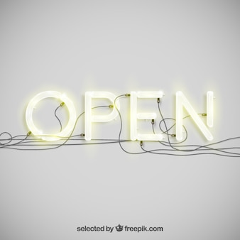 Open in neon typografie