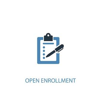 Open inschrijving concept 2 gekleurd icoon. eenvoudige blauwe elementenillustratie. open inschrijving symbool conceptontwerp. kan worden gebruikt voor web- en mobiele ui/ux