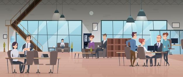 Open kantoor interieur. mensen uit het bedrijfsleven werkruimte zakelijke werken tekens moderne kantoor