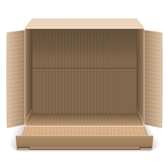 Open kartonnen doos geïsoleerd op witte achtergrond