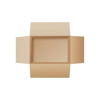 Open kartonnen doos van bovenaanzicht - lege verpakking van de verpakking