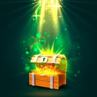 Open kist met goud, de lichte achtergrond. vector illustratie
