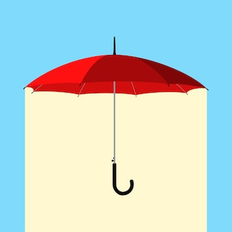 Open klassieke rode paraplustok onder regen