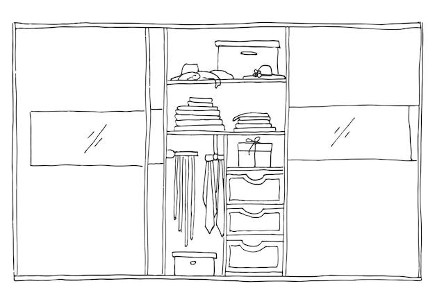 Open kledingkast met kleding op planken en hangers. vectorillustratie van een schetsstijl.