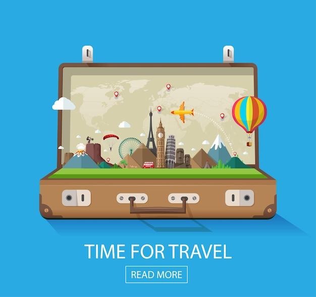 Open koffer met oriëntatiepunten op een blauwe achtergrond