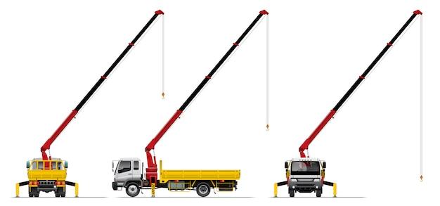 Open lading vrachtwagen met kraan.