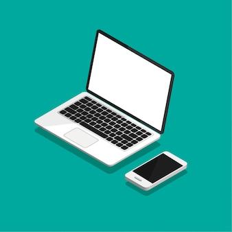 Open laptop en smartphone in isometrische projectie. leeg of leeg scherm. computerspot omhoog geïsoleerd op violette achtergrond. apparatuur voor kantoor. illustratie.