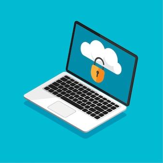 Open laptop met vergrendelde cloudopslag op een scherm. bestandsbeveiliging. gegevensbeveiliging en privacyconcept op computerscherm. veilige vertrouwelijke informatie. vectorillustratie in trendy isometrische stijl.