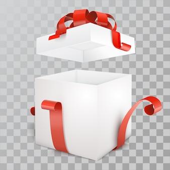 Open lege geschenkdoos met rood lint