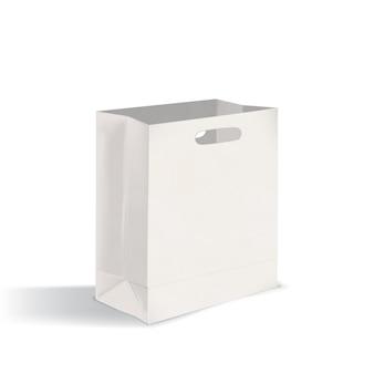 Open, lege papieren meeneemzak met platte bodem en gestanste handvatten. schoon pakket geïsoleerd op een witte achtergrond. realistische mock-up. vectorillustratie voor reclame, huisstijlvertegenwoordiging.