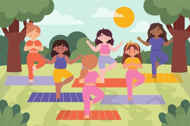 Open lucht yoga klasse illustratie