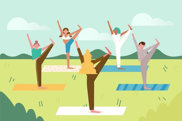 Open lucht yogales concept