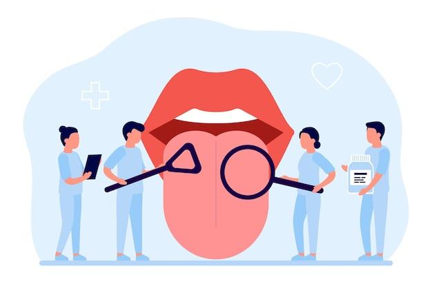 Open mond met uitstekende tong check-up gezondheid tong arts