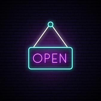 Open neonreclame in een kader.