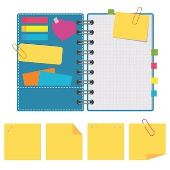 Open notitieblok met schone vellen op een spiraal met bladwijzers tussen de pagina's.