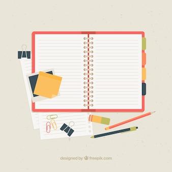 Open notitieboekje met toebehoren