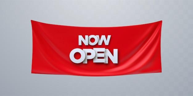Open nu illustratie, achtergrond, uitnodigingskaart. sjabloonbanner, uitnodigen voor rood lint snijden ceremonie