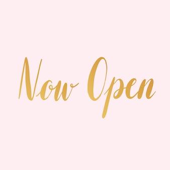 Open nu typografiestijlvector