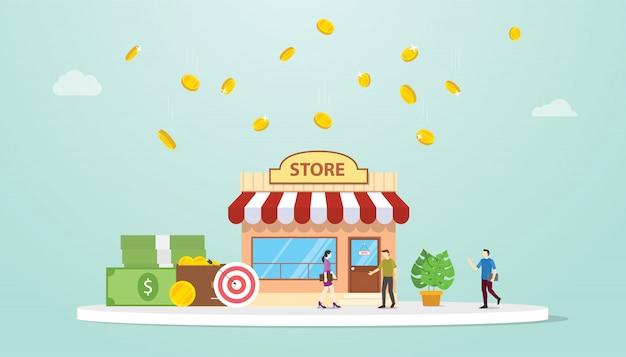Open offline winkel of winkel bedrijfsbouwconcept met teammensen