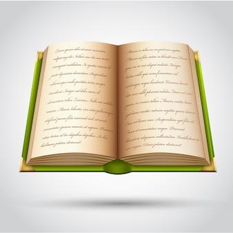 Open oud boek in groene omslag