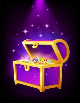 Open paarse kist met gouden munten en sieraden erin, geld, schatten en edelstenen