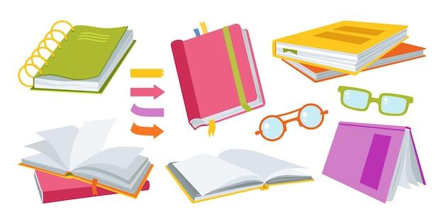 Open papieren boek hand getekende tekenfilm set. kantoorspullen educatie kit