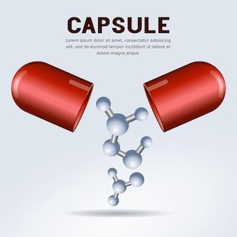 Open pilcapsule met het conceptmolecuul van de gezondheidszorgtechnologie