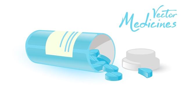 Open plastic container met gemorste blauwe tabletten