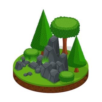 Open plek met een stenen berg, een bos van bomen en coniferen, een uitstekend landschap om te spelen