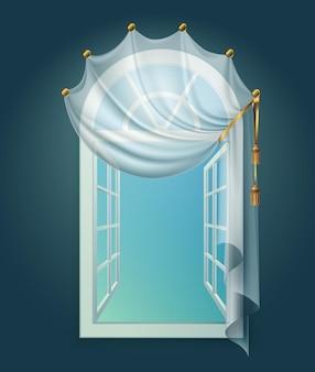 Open raam golvende gordijnen compositie met uitzicht op heldere hemel en gordijnkant met gouden lint
