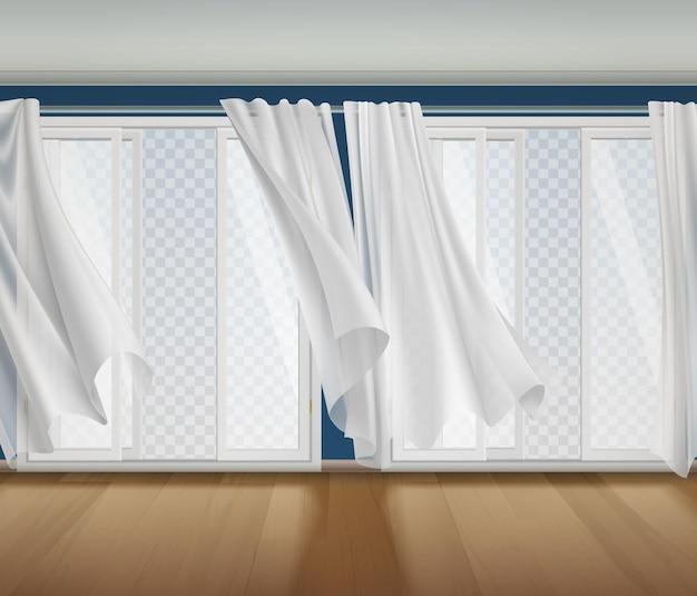 Open raam golvende gordijnen transparante compositie met binnenlandschap en geopende ramen met transparant uitzicht naar buiten