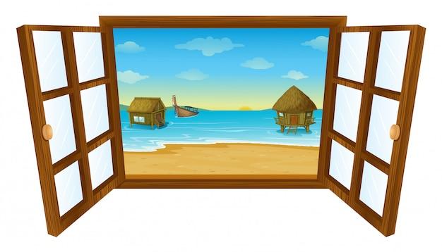 Open raam met de zee
