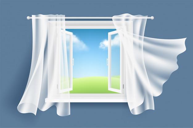 Open raam met gordijnen. zonnige achtergrond met glas lichtvenster en stromend fladderend stoffen gordijn realistisch