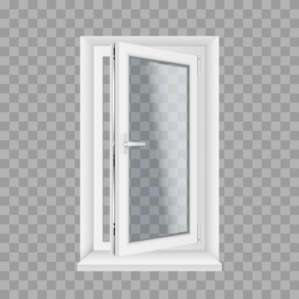 Open realistisch glas transparant plastic venster met vensterbanken en openingshandvat