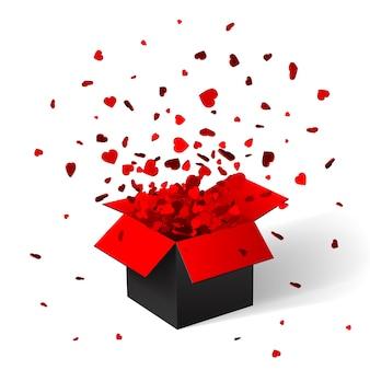 Open rode geschenkdoos en confetti. kerst achtergrond. illustratie.