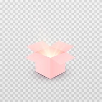Open roze geschenkdoos of cadeau