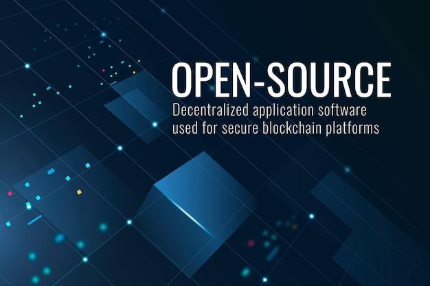 Open-source technologiesjabloon in donkerblauwe toon
