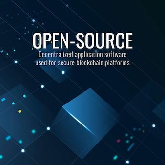 Open-source technologiesjabloon voor posts op sociale media in donkerblauwe toon
