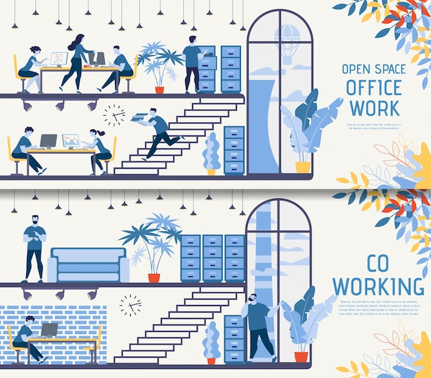 Open space co-working office vector banners set