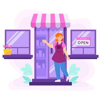 Open teken op winkel