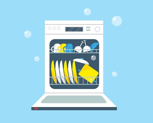 Open vaatwasmachine met schone vaat. keukenapparatuur illustratie.