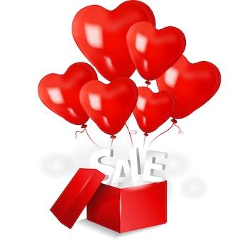Open verkoopdoos met 3d rode hartballon op lichte achtergrond
