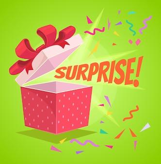 Open verrassing tekst geschenkdoos platte cartoon afbeelding